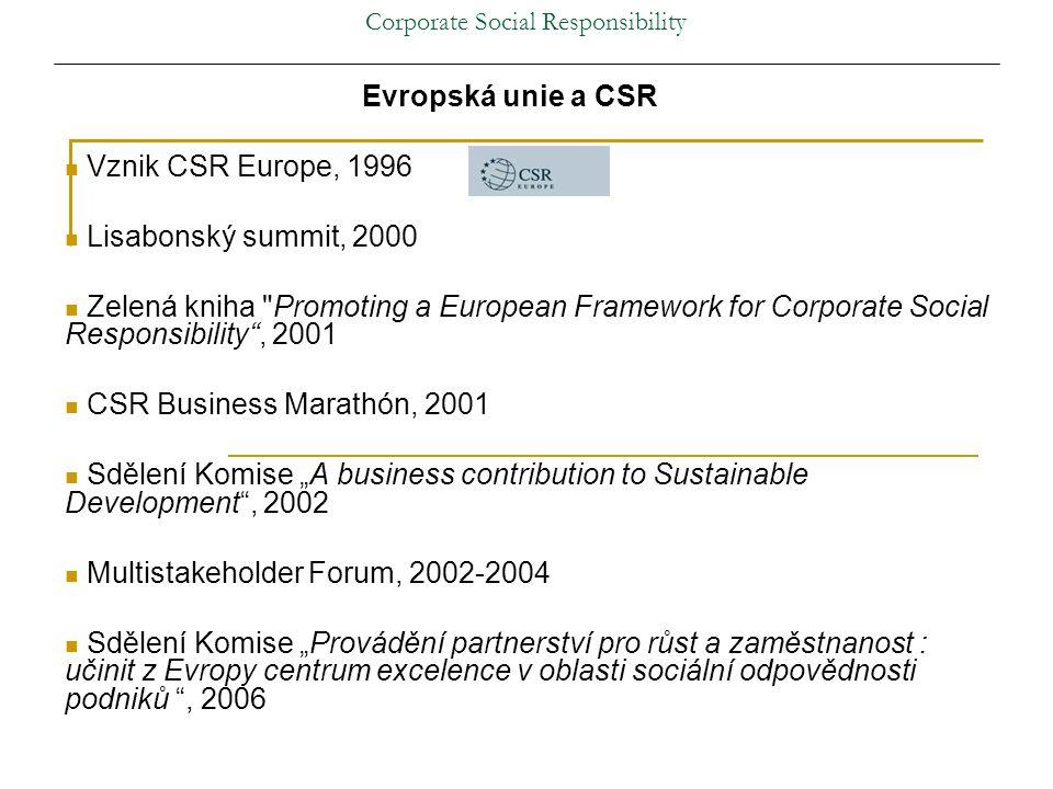 """Corporate Social Responsibility Evropská unie a CSR Vznik CSR Europe, 1996 Lisabonský summit, 2000 Zelená kniha Promoting a European Framework for Corporate Social Responsibility , 2001 CSR Business Marathón, 2001 Sdělení Komise """"A business contribution to Sustainable Development , 2002 Multistakeholder Forum, 2002-2004 Sdělení Komise """"Provádění partnerství pro růst a zaměstnanost : učinit z Evropy centrum excelence v oblasti sociální odpovědnosti podniků , 2006"""