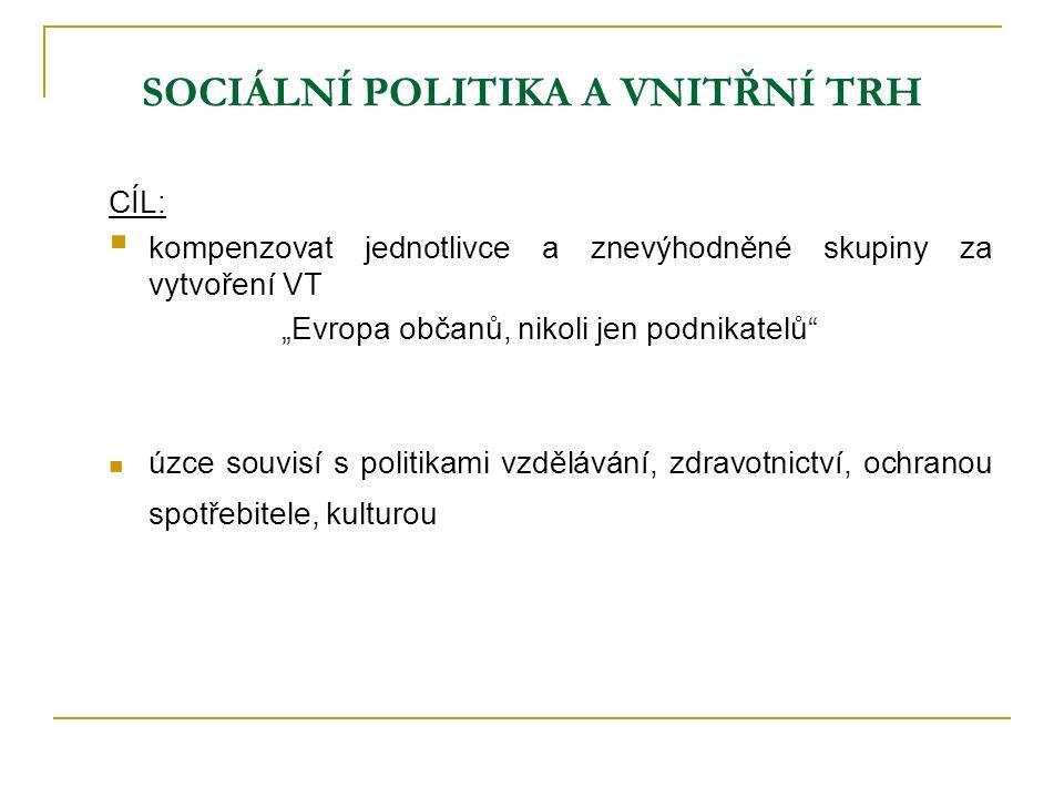 Vývoj sociální politiky EU 1957 – Římská smlouva: pouze náznak sociální politiky 1961 – Evropský sociální fond cíle: zlepšit adaptabilitu pracovní síly do roku 1972 harmonizace SP spíše prostřednictvím společného trhu 1974 – První sociální akční program především na boj s nezaměstnaností