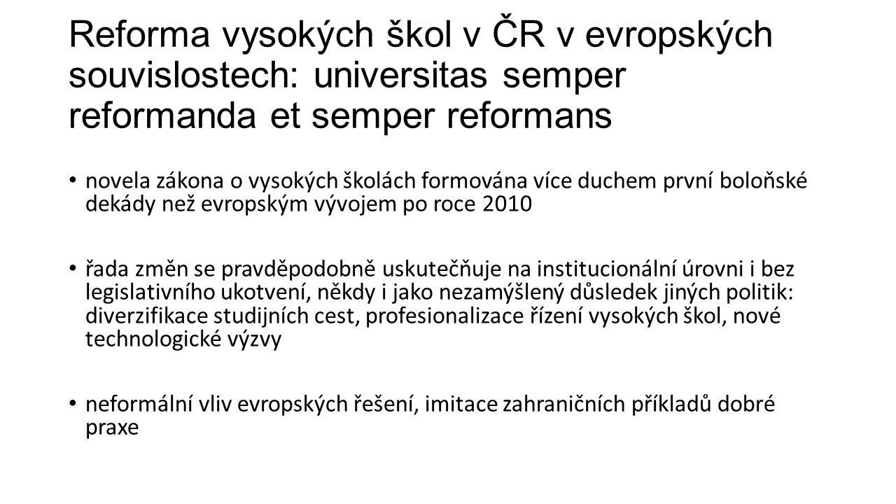 Reforma vysokých škol v ČR v evropských souvislostech: universitas semper reformanda et semper reformans novela zákona o vysokých školách formována ví