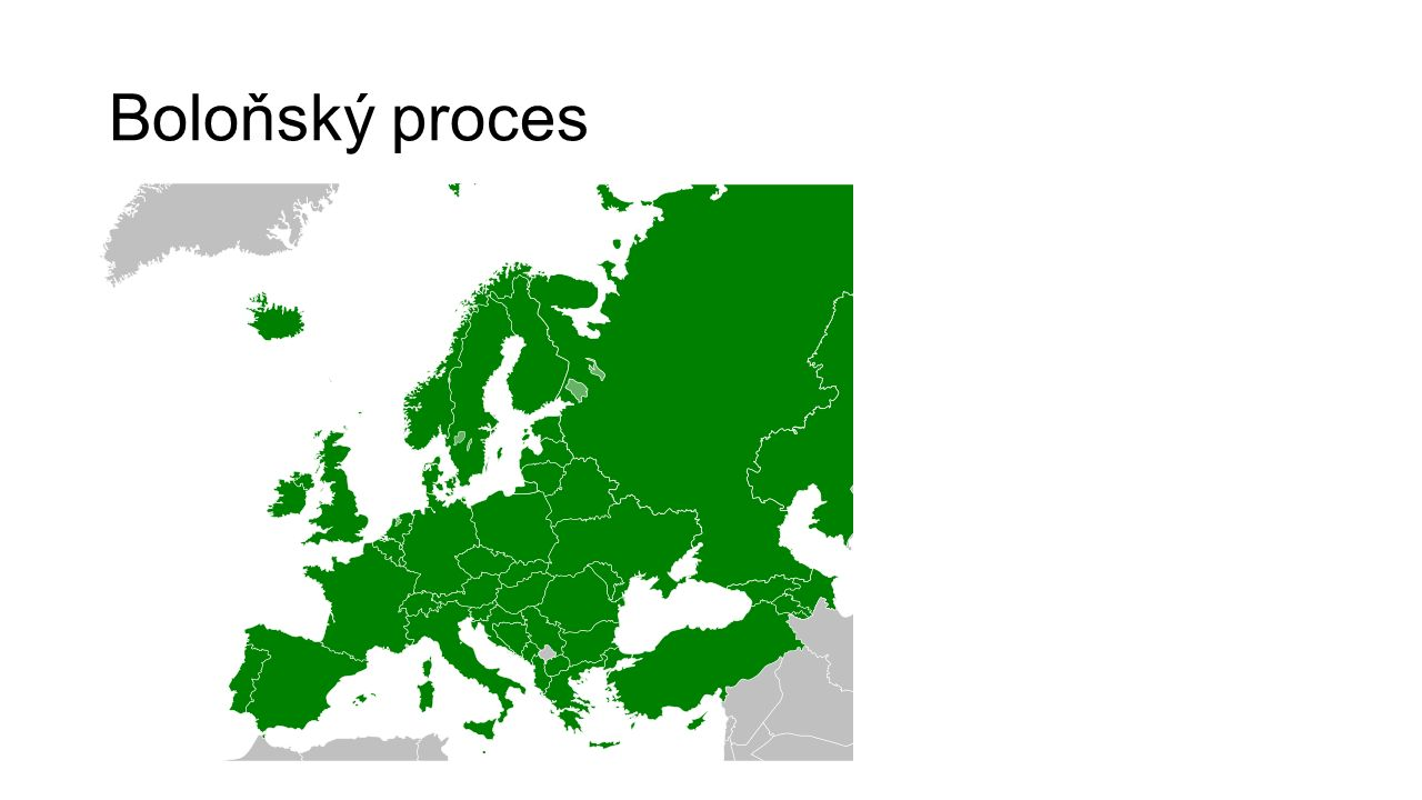 1999 Boloňská deklarace atraktivita evropského vysokého školství mobilita kvalita vysokoškolského vzdělávání dostupnost vysokoškolského vzdělávání strukturované studium uznávání kvalifikací kreditní systém kvalifikační rámce evropská spolupráce v zajišťování kvality 2010 vyhlášení Evropského prostoru vysokoškolského vzdělávání zaměstnatelnost, sociální dimenze, výuka a učení