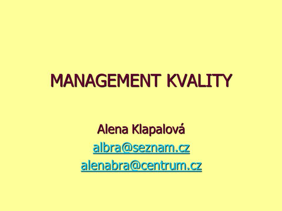 MANAGEMENT KVALITY Alena Klapalová albra@seznam.cz albra@seznam.cz alenabra@centrum.cz