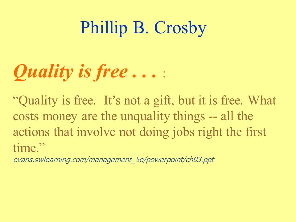 Phillip B. Crosby Quality is free... : Quality is free.