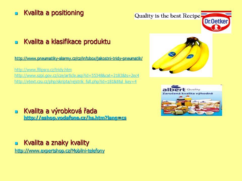 Kvalita a positioning Kvalita a positioning Kvalita a klasifikace produktu Kvalita a klasifikace produktu http://www.pneumatiky-alarmy.cz/cz/infobox/jakostni-tridy-pneumatik/ http://www.filipsro.cz/tridy.htm http://www.szpi.gov.cz/cze/article.asp id=55348&cat=2183&ts=2ec4 http://etext.czu.cz/php/skripta/rejstrik_full.php id=181&titul_key=4 Kvalita a výrobková řada http://eshop.vodafone.cz/hs.htm lang=cs Kvalita a výrobková řada http://eshop.vodafone.cz/hs.htm lang=cs http://eshop.vodafone.cz/hs.htm lang=cs Kvalita a znaky kvality Kvalita a znaky kvality http://www.expertshop.cz/Mobilni-telefony