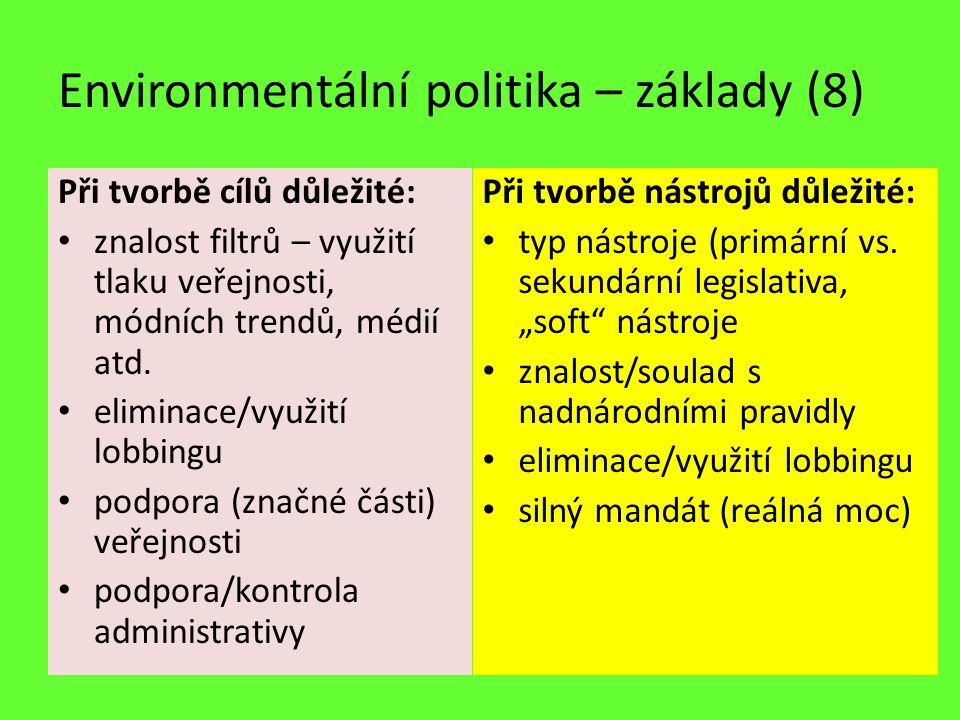 Environmentální politika – základy (8) Při tvorbě cílů důležité: znalost filtrů – využití tlaku veřejnosti, módních trendů, médií atd. eliminace/využi