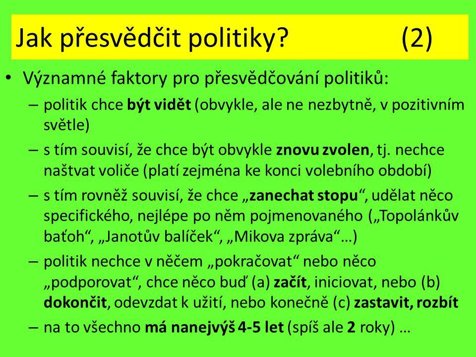 Jak přesvědčit politiky? (2) Významné faktory pro přesvědčování politiků: – politik chce být vidět (obvykle, ale ne nezbytně, v pozitivním světle) – s
