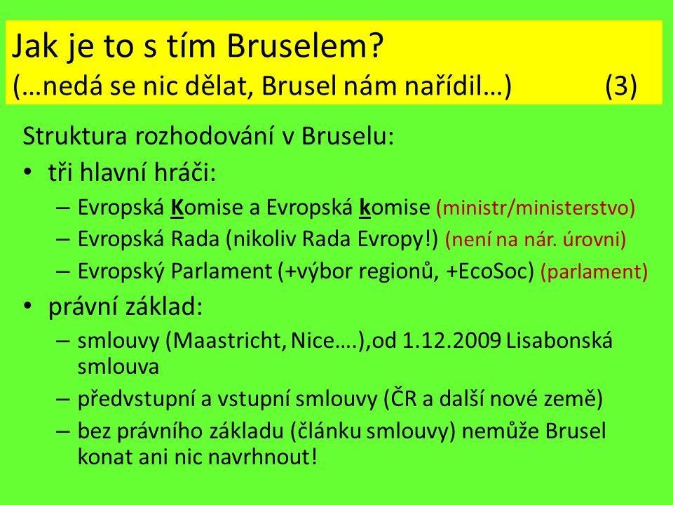 Jak je to s tím Bruselem? (…nedá se nic dělat, Brusel nám nařídil…) (3) Struktura rozhodování v Bruselu: tři hlavní hráči: – Evropská Komise a Evropsk