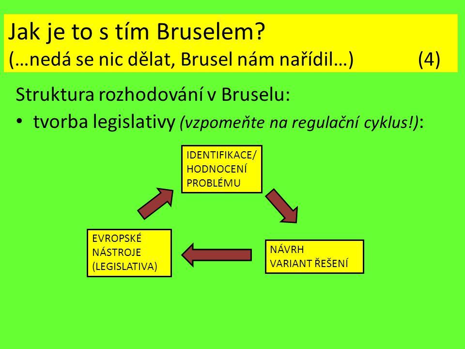 Jak je to s tím Bruselem? (…nedá se nic dělat, Brusel nám nařídil…) (4) Struktura rozhodování v Bruselu: tvorba legislativy (vzpomeňte na regulační cy