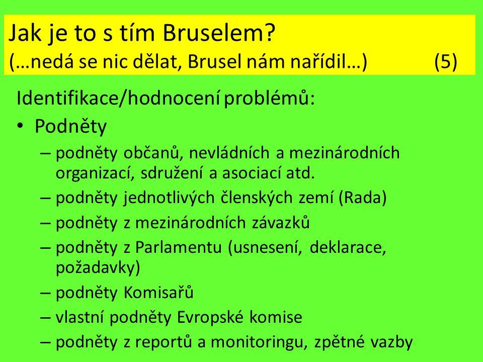 Jak je to s tím Bruselem? (…nedá se nic dělat, Brusel nám nařídil…) (5) Identifikace/hodnocení problémů: Podněty – podněty občanů, nevládních a meziná