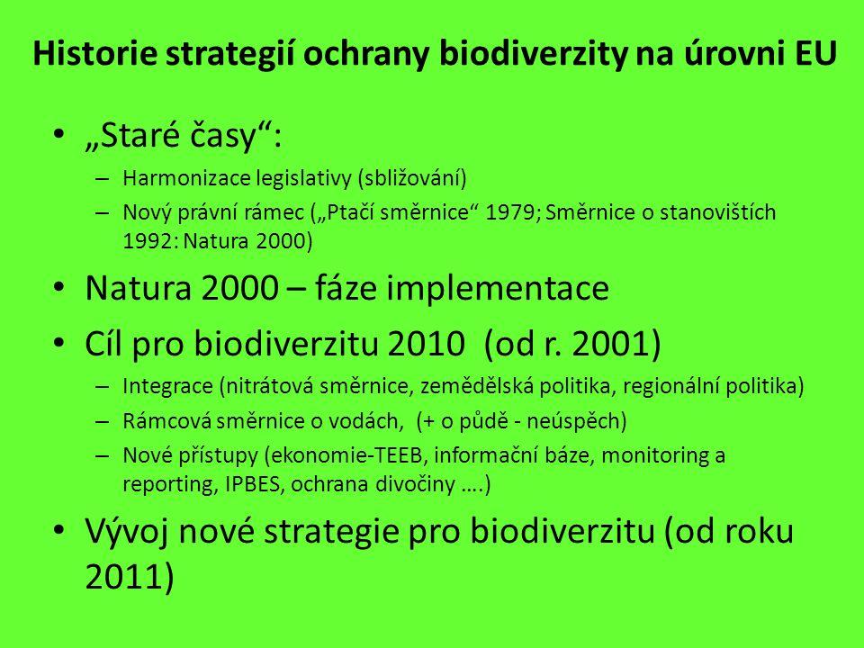 """Historie strategií ochrany biodiverzity na úrovni EU """"Staré časy"""": – Harmonizace legislativy (sbližování) – Nový právní rámec (""""Ptačí směrnice"""" 1979;"""
