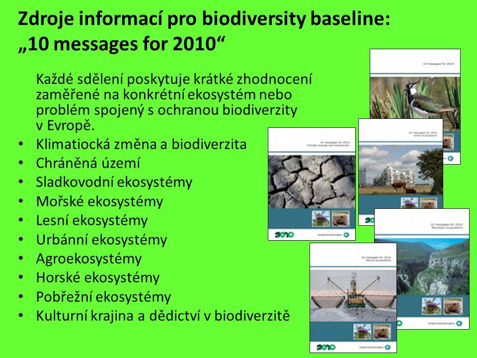"""Zdroje informací pro biodiversity baseline: """"10 messages for 2010"""" Každé sdělení poskytuje krátké zhodnocení zaměřené na konkrétní ekosystém nebo prob"""
