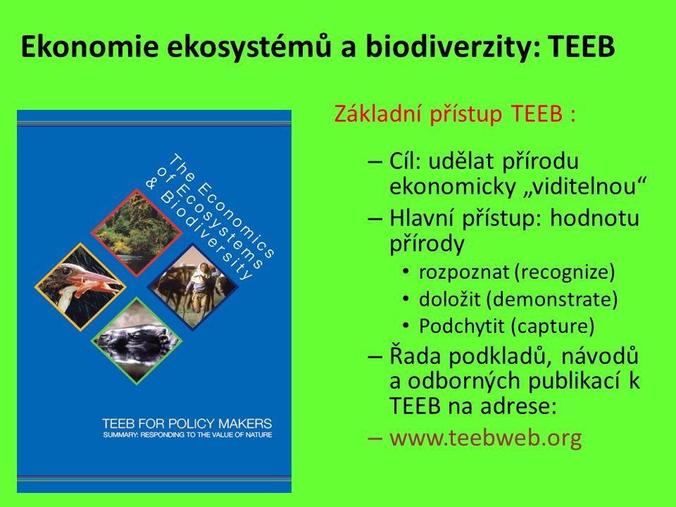 """Ekonomie ekosystémů a biodiverzity: TEEB Základní přístup TEEB : – Cíl: udělat přírodu ekonomicky """"viditelnou"""" – Hlavní přístup: hodnotu přírody rozpo"""