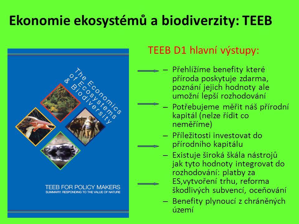 Ekonomie ekosystémů a biodiverzity: TEEB TEEB D1 hlavní výstupy: – Přehlížíme benefity které příroda poskytuje zdarma, poznání jejich hodnoty ale umož