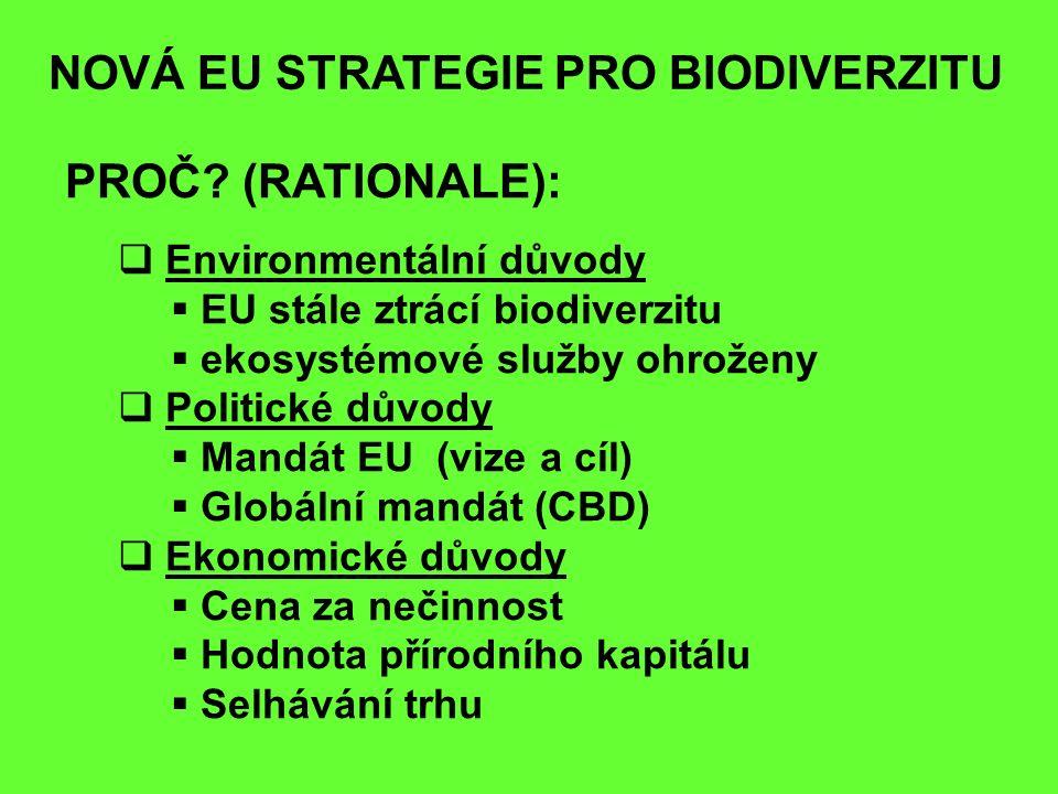 NOVÁ EU STRATEGIE PRO BIODIVERZITU PROČ? (RATIONALE):  Environmentální důvody  EU stále ztrácí biodiverzitu  ekosystémové služby ohroženy  Politic