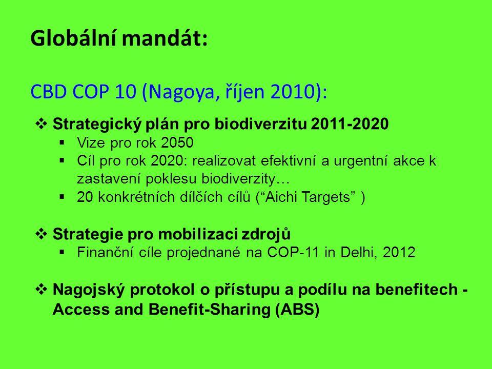Globální mandát: CBD COP 10 (Nagoya, říjen 2010):  Strategický plán pro biodiverzitu 2011-2020  Vize pro rok 2050  Cíl pro rok 2020: realizovat efe