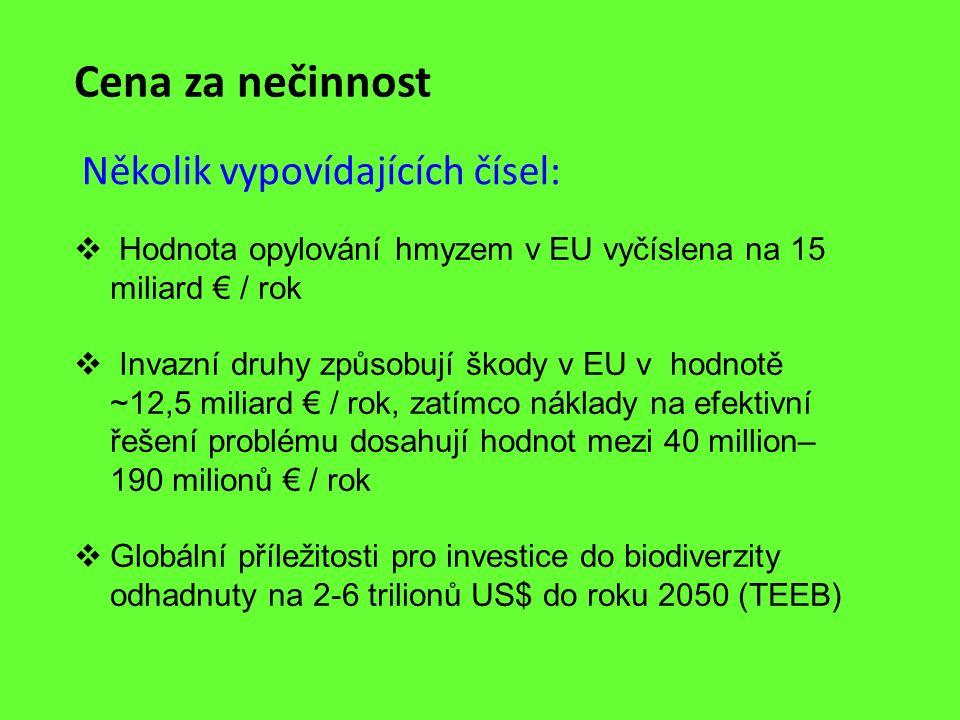 Cena za nečinnost Několik vypovídajících čísel:  Hodnota opylování hmyzem v EU vyčíslena na 15 miliard € / rok  Invazní druhy způsobují škody v EU v
