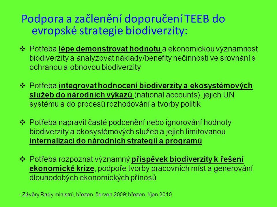 Podpora a začlenění doporučení TEEB do evropské strategie biodiverzity:  Potřeba lépe demonstrovat hodnotu a ekonomickou významnost biodiverzity a an