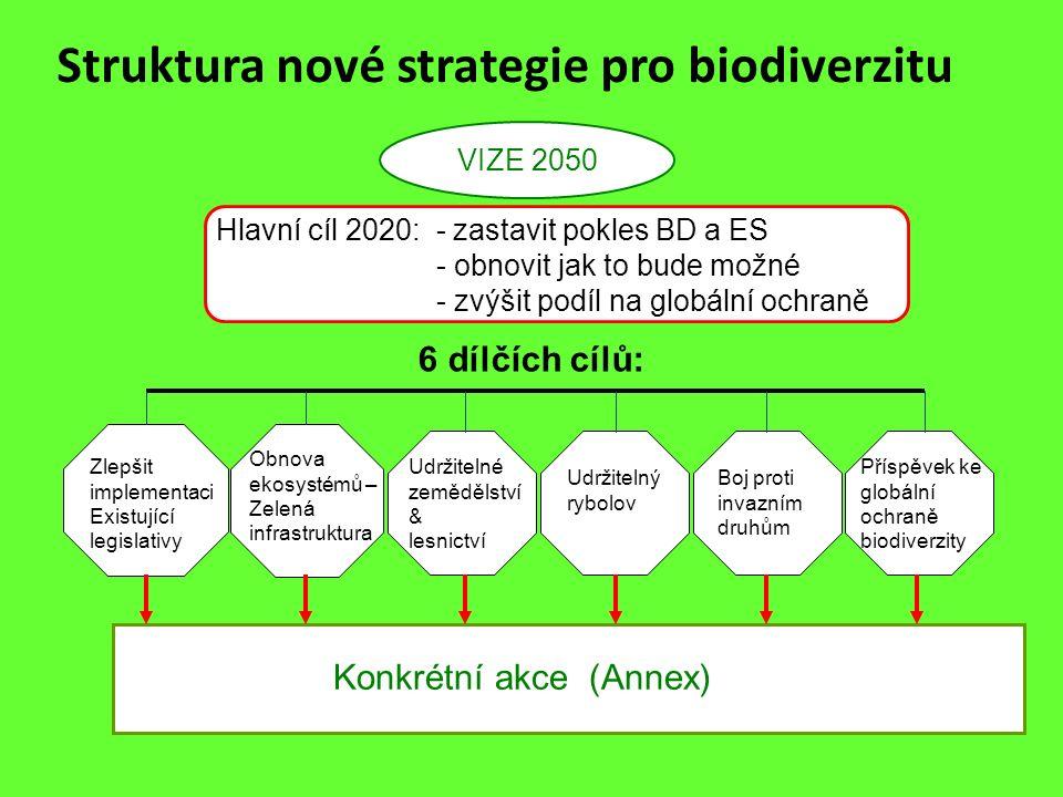 Struktura nové strategie pro biodiverzitu VIZE 2050 Hlavní cíl 2020: - zastavit pokles BD a ES - obnovit jak to bude možné - zvýšit podíl na globální