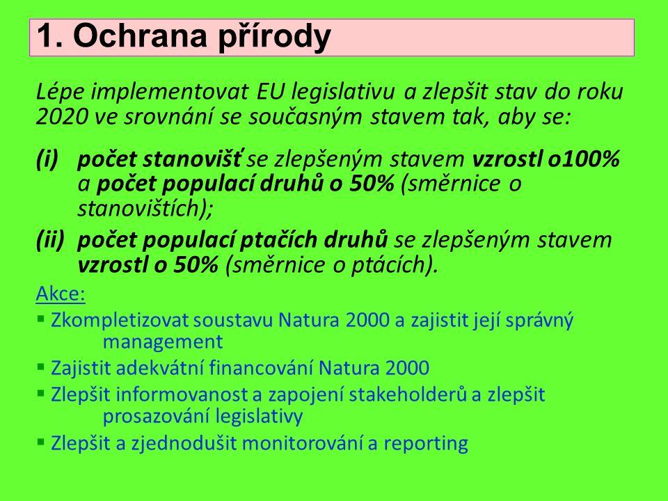 Lépe implementovat EU legislativu a zlepšit stav do roku 2020 ve srovnání se současným stavem tak, aby se: (i)počet stanovišť se zlepšeným stavem vzro