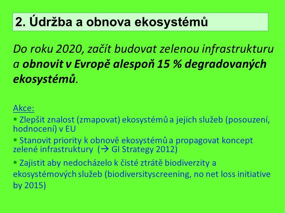Do roku 2020, začít budovat zelenou infrastrukturu a obnovit v Evropě alespoň 15 % degradovaných ekosystémů. Akce:  Zlepšit znalost (zmapovat) ekosys