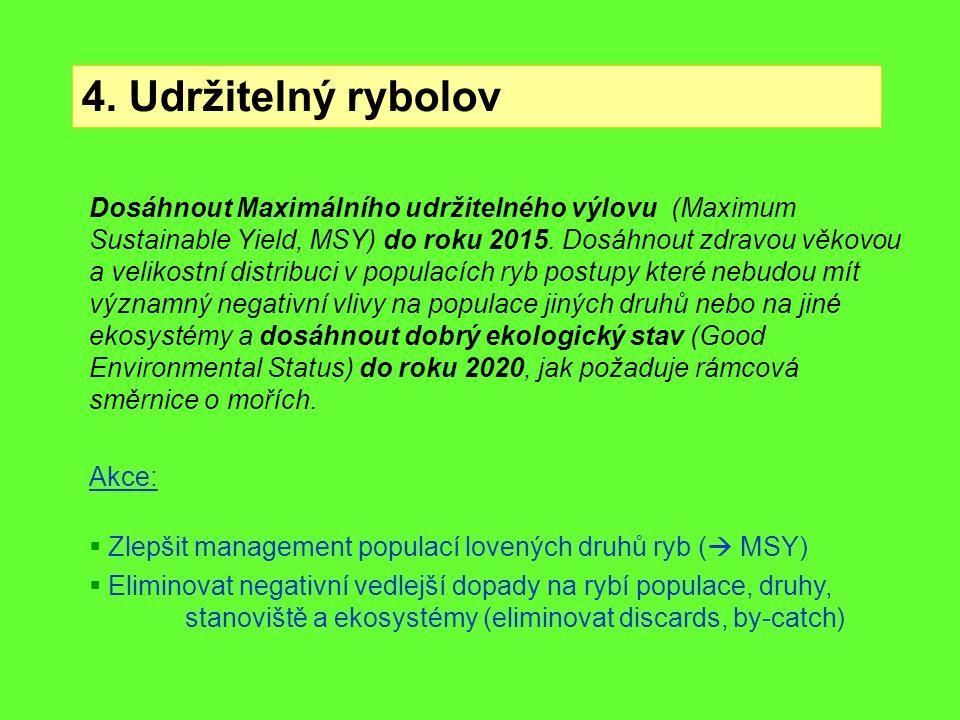 4. Udržitelný rybolov Dosáhnout Maximálního udržitelného výlovu (Maximum Sustainable Yield, MSY) do roku 2015. Dosáhnout zdravou věkovou a velikostní