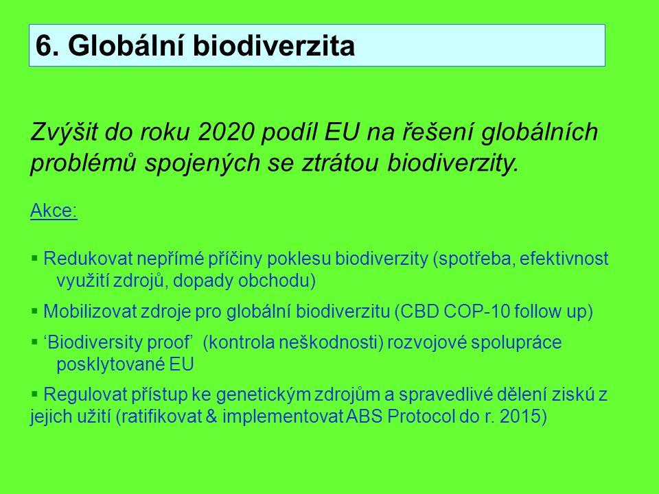 6. Globální biodiverzita Zvýšit do roku 2020 podíl EU na řešení globálních problémů spojených se ztrátou biodiverzity. Akce:  Redukovat nepřímé příči