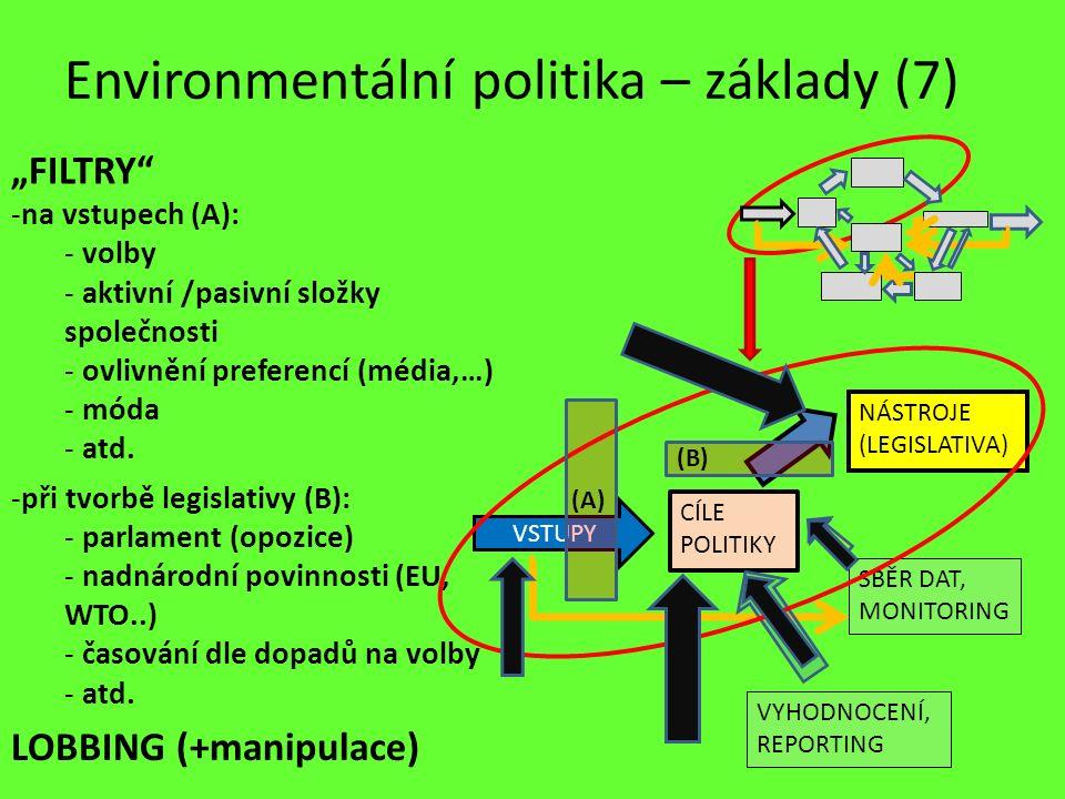 -při tvorbě legislativy (B): - parlament (opozice) - nadnárodní povinnosti (EU, WTO..) - časování dle dopadů na volby - atd. Environmentální politika