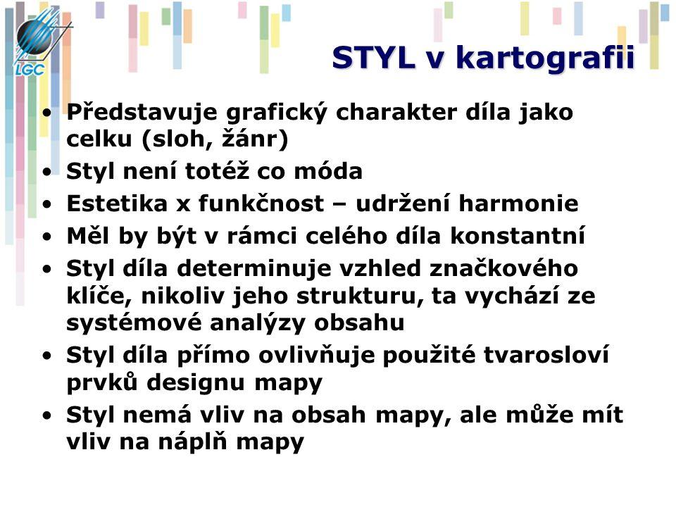 STYL v kartografii Představuje grafický charakter díla jako celku (sloh, žánr) Styl není totéž co móda Estetika x funkčnost – udržení harmonie Měl by