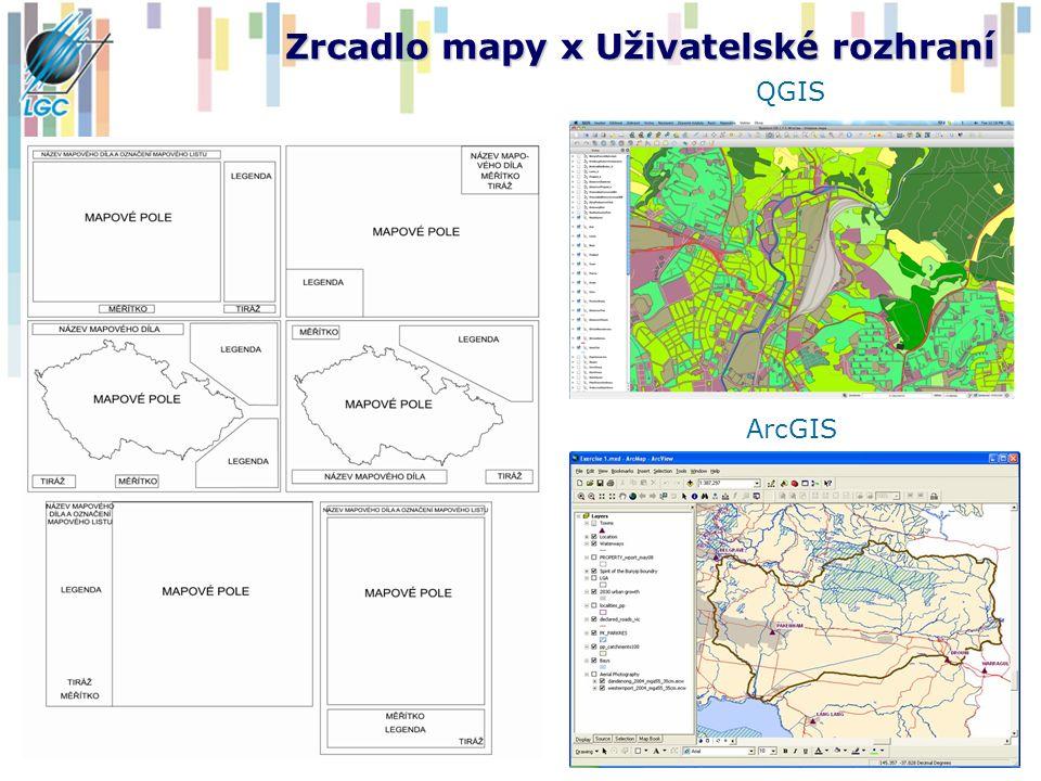 Zrcadlo mapy x Uživatelské rozhraní QGIS ArcGIS