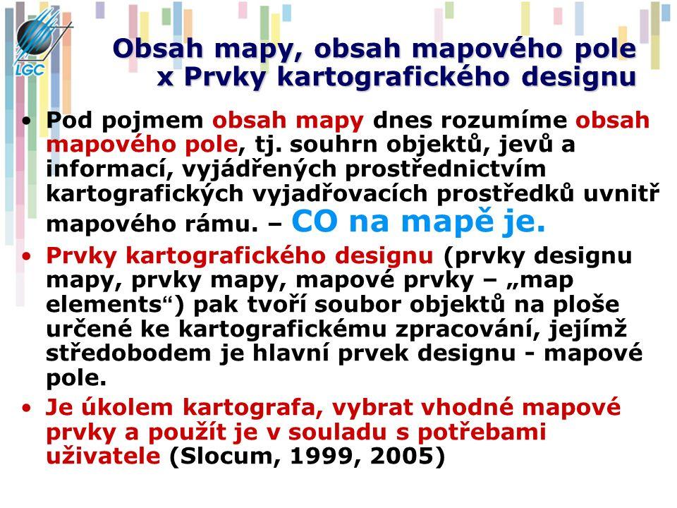 Obsah mapy, obsah mapového pole x Prvky kartografického designu Pod pojmem obsah mapy dnes rozumíme obsah mapového pole, tj. souhrn objektů, jevů a in