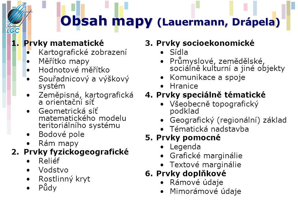 Obsah mapy (Lauermann, Drápela) 1.Prvky matematické Kartografické zobrazení Měřítko mapy Hodnotové měřítko Souřadnicový a výškový systém Zeměpisná, ka