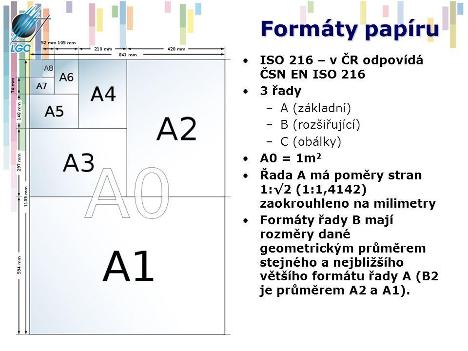 Formáty papíru ISO 216 – v ČR odpovídá ČSN EN ISO 216 3 řady –A (základní) –B (rozšiřující) –C (obálky) A0 = 1m 2 Řada A má poměry stran 1:√2 (1:1,414