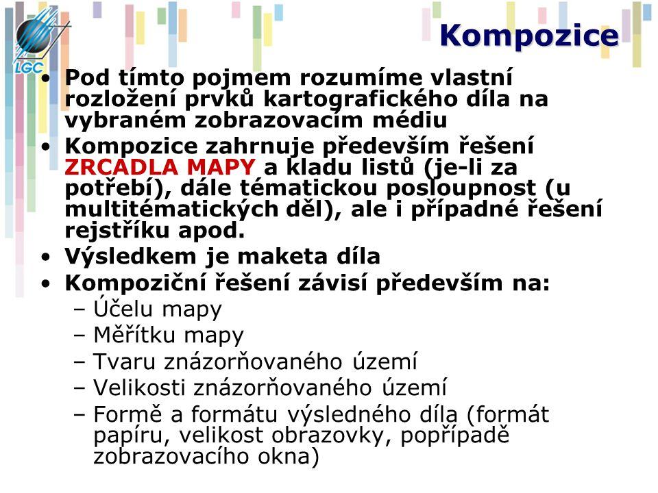 Prvky kartografického designu 1.Mapové pole 2.Název mapy 3.Legenda 4.Měřítko 5.Rám mapy 6.Metadatové údaje (tiráž) 7.Marginálie