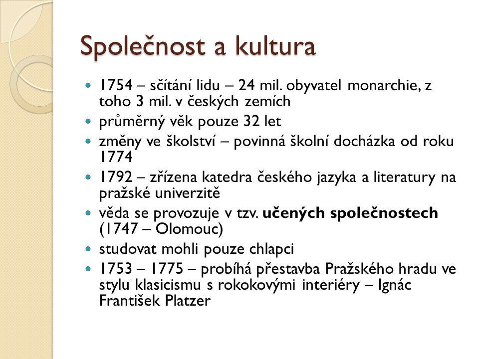Společnost a kultura 1754 – sčítání lidu – 24 mil. obyvatel monarchie, z toho 3 mil. v českých zemích průměrný věk pouze 32 let změny ve školství – po