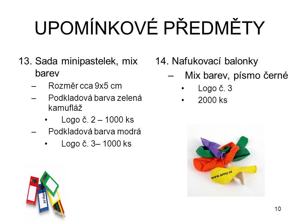 UPOMÍNKOVÉ PŘEDMĚTY 13.Sada minipastelek, mix barev –Rozměr cca 9x5 cm –Podkladová barva zelená kamufláž Logo č. 2 – 1000 ks –Podkladová barva modrá L