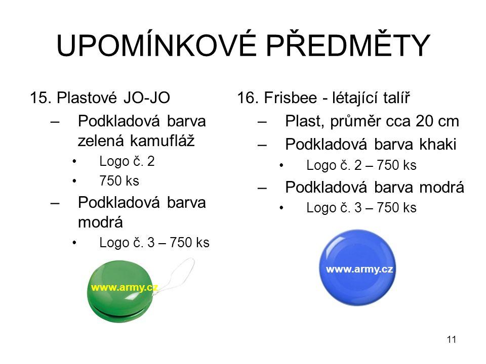 UPOMÍNKOVÉ PŘEDMĚTY 15.Plastové JO-JO –Podkladová barva zelená kamufláž Logo č. 2 750 ks –Podkladová barva modrá Logo č. 3 – 750 ks 16.Frisbee - létaj