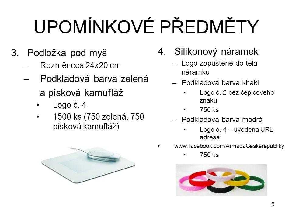UPOMÍNKOVÉ PŘEDMĚTY 3.Podložka pod myš –Rozměr cca 24x20 cm –Podkladová barva zelená a písková kamufláž Logo č.