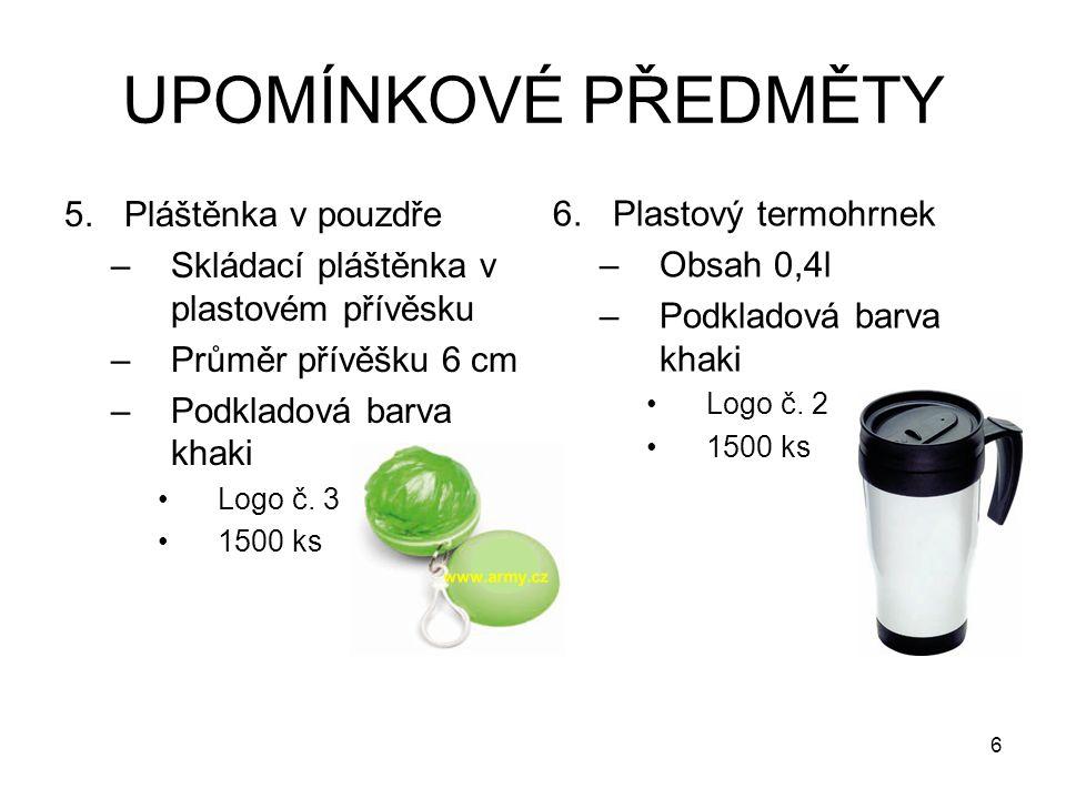 UPOMÍNKOVÉ PŘEDMĚTY 5.Pláštěnka v pouzdře –Skládací pláštěnka v plastovém přívěsku –Průměr přívěšku 6 cm –Podkladová barva khaki Logo č. 3 1500 ks 6.P