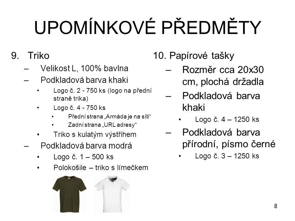 UPOMÍNKOVÉ PŘEDMĚTY 9.Triko –Velikost L, 100% bavlna –Podkladová barva khaki Logo č. 2 - 750 ks (logo na přední straně trika) Logo č. 4 - 750 ks Předn