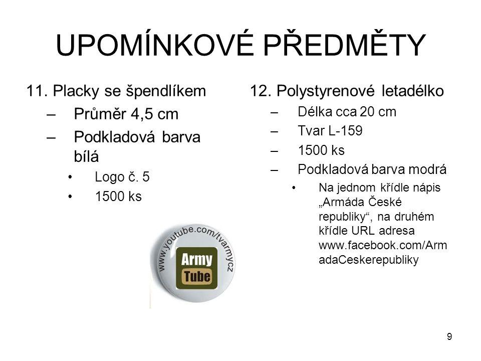 UPOMÍNKOVÉ PŘEDMĚTY 11.Placky se špendlíkem –Průměr 4,5 cm –Podkladová barva bílá Logo č.