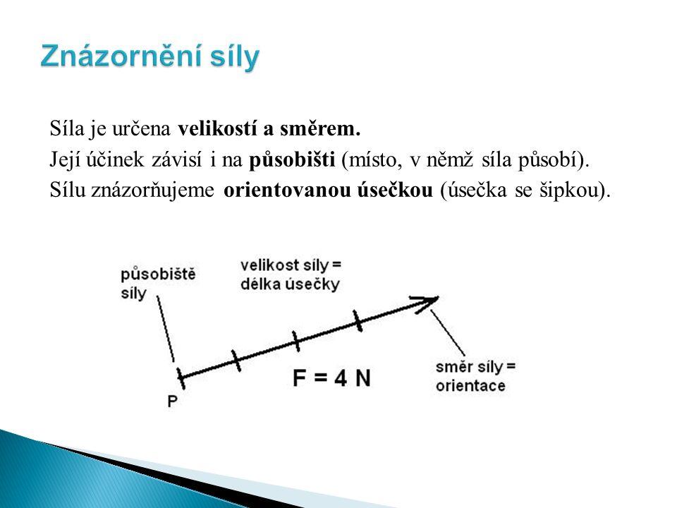 Síla je určena velikostí a směrem. Její účinek závisí i na působišti (místo, v němž síla působí).