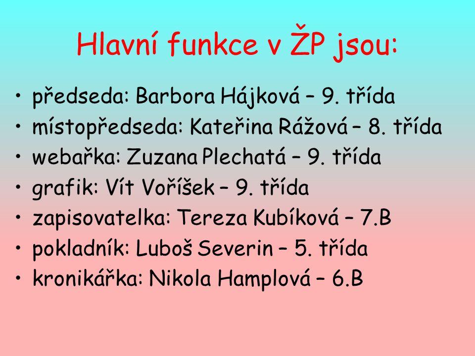 Hlavní funkce v ŽP jsou: předseda: Barbora Hájková – 9.