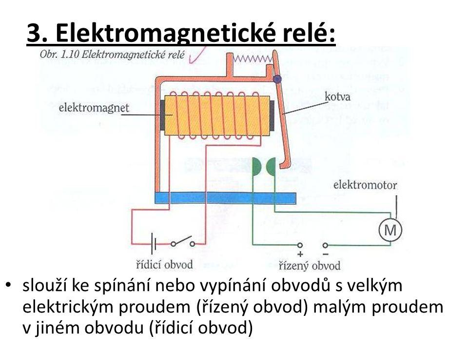 slouží ke spínání nebo vypínání obvodů s velkým elektrickým proudem (řízený obvod) malým proudem v jiném obvodu (řídicí obvod)