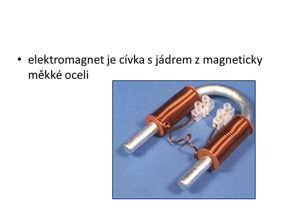 elektromagnet je cívka s jádrem z magneticky měkké oceli