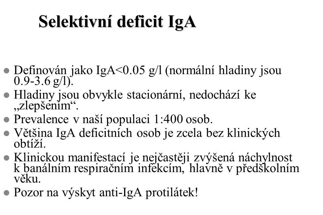 """Selektivní deficit IgA l Definován jako IgA<0.05 g/l (normální hladiny jsou 0.9-3.6 g/l). l Hladiny jsou obvykle stacionární, nedochází ke """"zlepšením"""""""