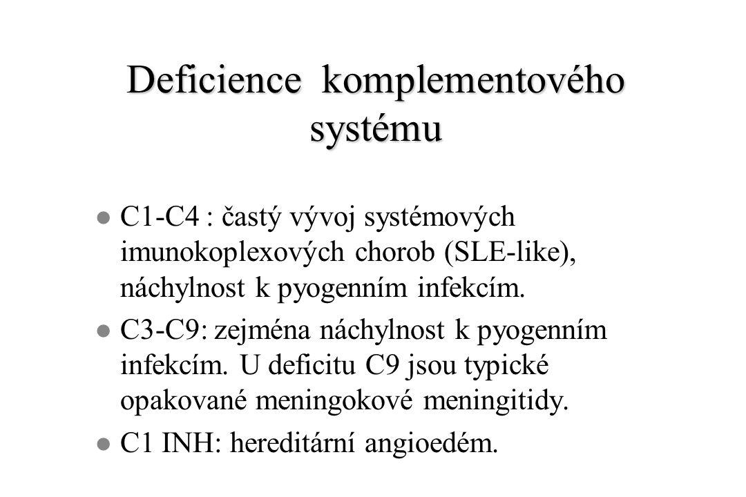 Deficience komplementového systému l C1-C4 : častý vývoj systémových imunokoplexových chorob (SLE-like), náchylnost k pyogenním infekcím. l C3-C9: zej