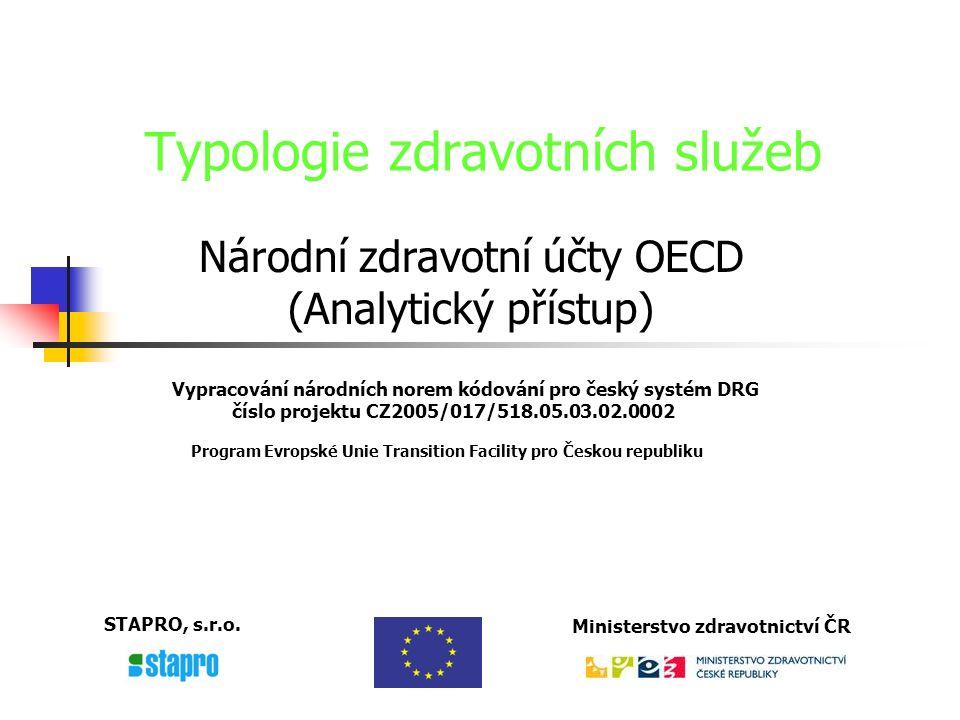 Vypracování národních norem kódování pro český systém DRG číslo projektu CZ2005/017/518.05.03.02.0002 Program Evropské Unie Transition Facility pro Českou republiku STAPRO, s.r.o.