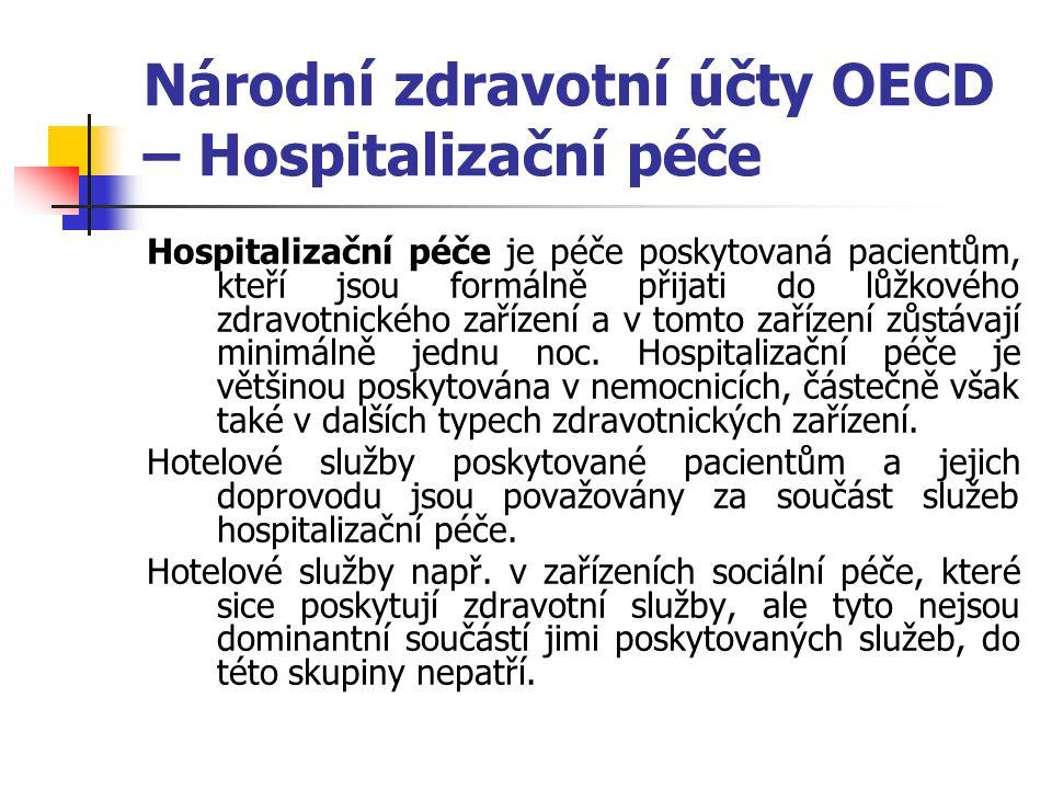 Národní zdravotní účty OECD – Hospitalizační péče Hospitalizační péče je péče poskytovaná pacientům, kteří jsou formálně přijati do lůžkového zdravotnického zařízení a v tomto zařízení zůstávají minimálně jednu noc.