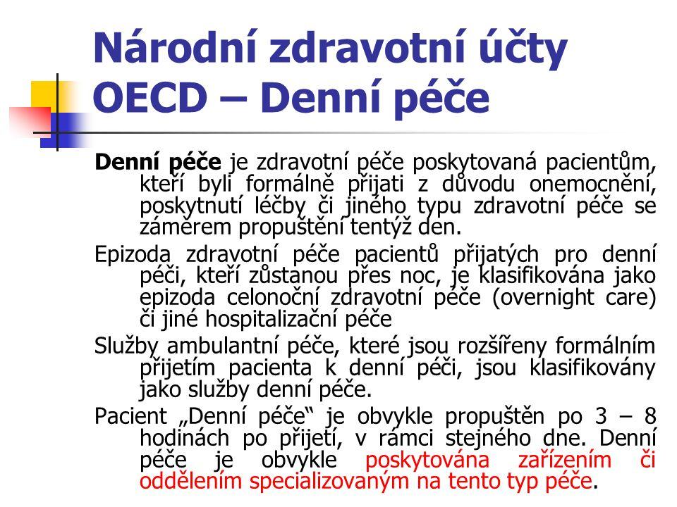 Národní zdravotní účty OECD – Denní péče Denní péče je zdravotní péče poskytovaná pacientům, kteří byli formálně přijati z důvodu onemocnění, poskytnutí léčby či jiného typu zdravotní péče se záměrem propuštění tentýž den.