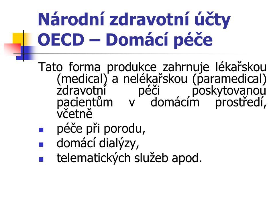 Národní zdravotní účty OECD – Domácí péče Tato forma produkce zahrnuje lékařskou (medical) a nelékařskou (paramedical) zdravotní péči poskytovanou pacientům v domácím prostředí, včetně péče při porodu, domácí dialýzy, telematických služeb apod.