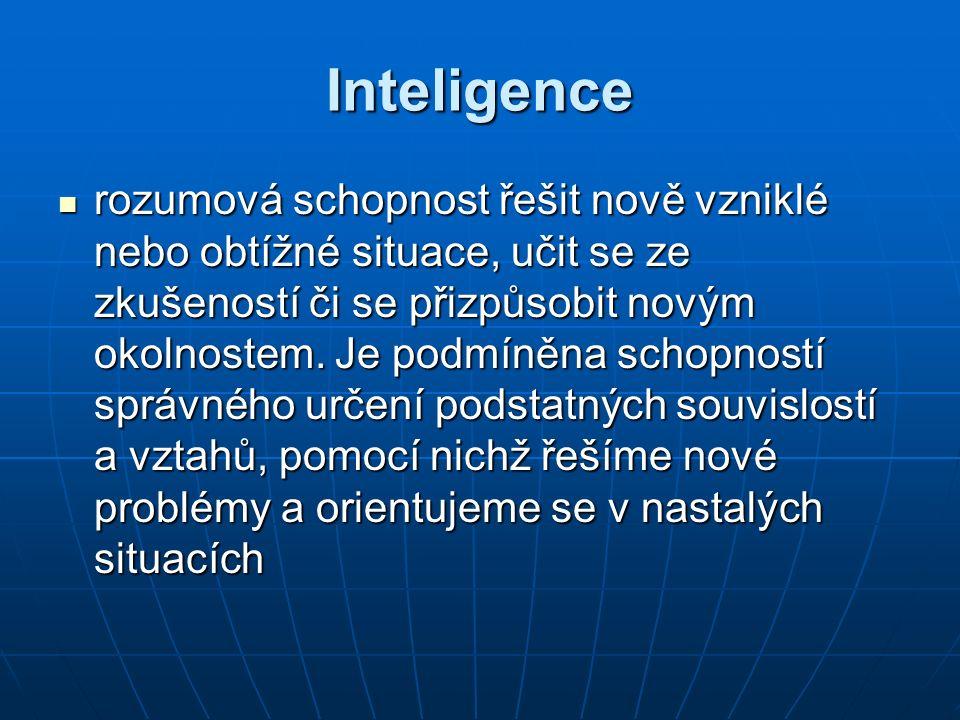 Inteligence rozumová schopnost řešit nově vzniklé nebo obtížné situace, učit se ze zkušeností či se přizpůsobit novým okolnostem.